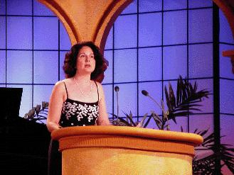Beverly Eakman at a speaking engagment